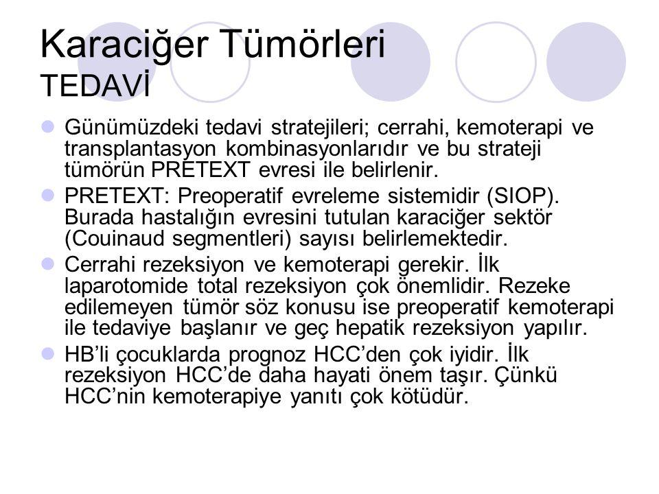 Karaciğer Tümörleri TEDAVİ Günümüzdeki tedavi stratejileri; cerrahi, kemoterapi ve transplantasyon kombinasyonlarıdır ve bu strateji tümörün PRETEXT evresi ile belirlenir.