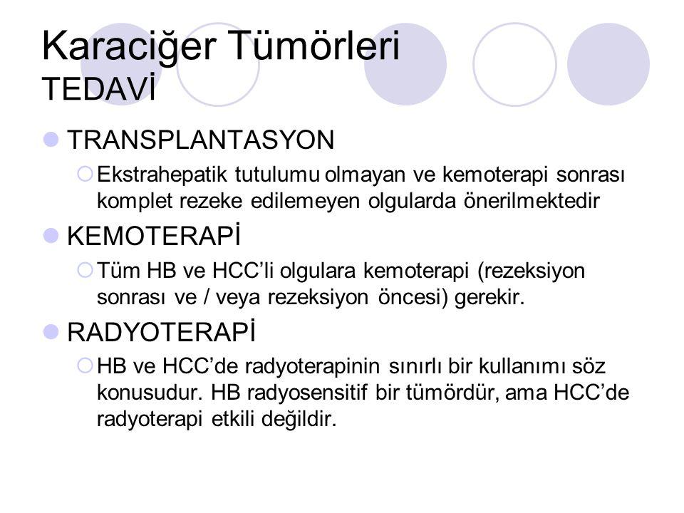 Karaciğer Tümörleri TEDAVİ TRANSPLANTASYON  Ekstrahepatik tutulumu olmayan ve kemoterapi sonrası komplet rezeke edilemeyen olgularda önerilmektedir KEMOTERAPİ  Tüm HB ve HCC'li olgulara kemoterapi (rezeksiyon sonrası ve / veya rezeksiyon öncesi) gerekir.