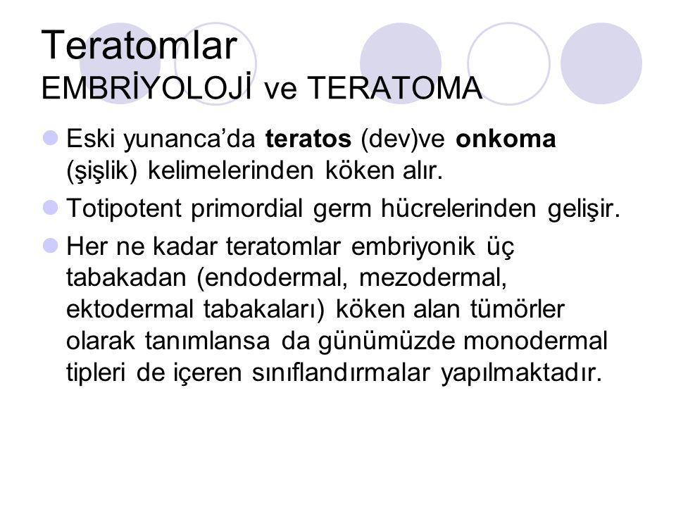 Teratomlar EMBRİYOLOJİ ve TERATOMA Eski yunanca'da teratos (dev)ve onkoma (şişlik) kelimelerinden köken alır. Totipotent primordial germ hücrelerinden