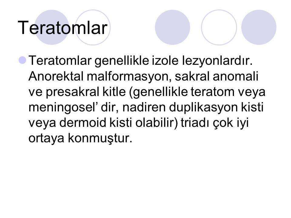 Teratomlar Teratomlar genellikle izole lezyonlardır. Anorektal malformasyon, sakral anomali ve presakral kitle (genellikle teratom veya meningosel' di