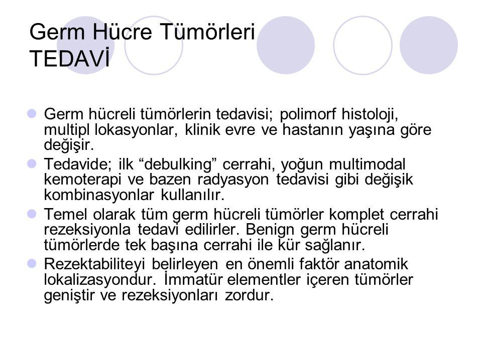 Germ Hücre Tümörleri TEDAVİ Germ hücreli tümörlerin tedavisi; polimorf histoloji, multipl lokasyonlar, klinik evre ve hastanın yaşına göre değişir. Te