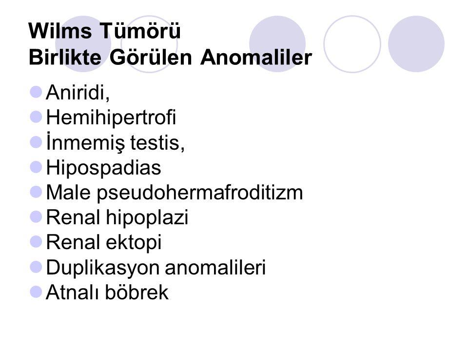 Wilms Tümörü Birlikte görülen sendromlar WAGR sendromu  Wilms Tümörü, aniridi, genitoüriner malformasyon, mental retardasyon Wiedemann- Beckwith sendromu (WBS)  Makroglossi, organomegali, hemihipertrofi, karın duvarı defektleri, hipoglisemi, kulak kepçesi deformitesi Drash sendromu  Pseudohermafrotidizm, dejeneratif böbrek hastalıkları Klippel-Trenaunay sendromu Perlmann sendromu Spesifik sitogenetik anormallikler