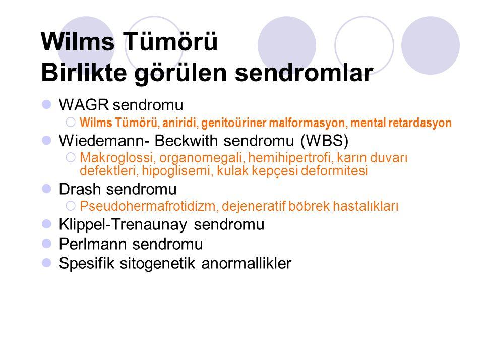 Wilms Tümörü Birlikte görülen sendromlar WAGR sendromu  Wilms Tümörü, aniridi, genitoüriner malformasyon, mental retardasyon Wiedemann- Beckwith send