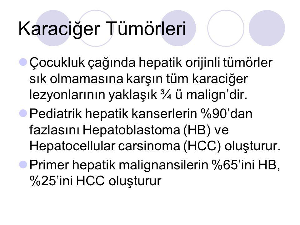 Çocukluk çağında hepatik orijinli tümörler sık olmamasına karşın tüm karaciğer lezyonlarının yaklaşık ¾ ü malign'dir.