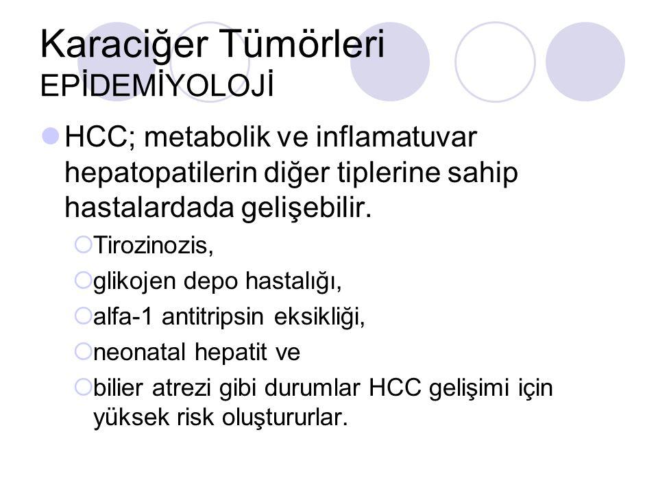 Karaciğer Tümörleri EPİDEMİYOLOJİ HCC; metabolik ve inflamatuvar hepatopatilerin diğer tiplerine sahip hastalardada gelişebilir.  Tirozinozis,  glik