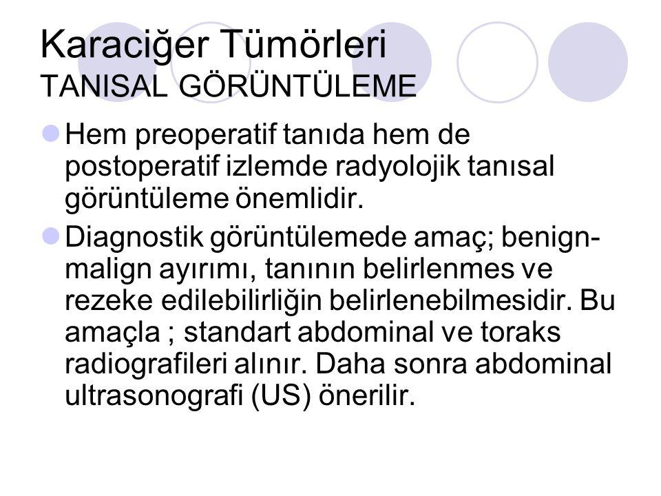 Karaciğer Tümörleri TANISAL GÖRÜNTÜLEME Hem preoperatif tanıda hem de postoperatif izlemde radyolojik tanısal görüntüleme önemlidir. Diagnostik görünt
