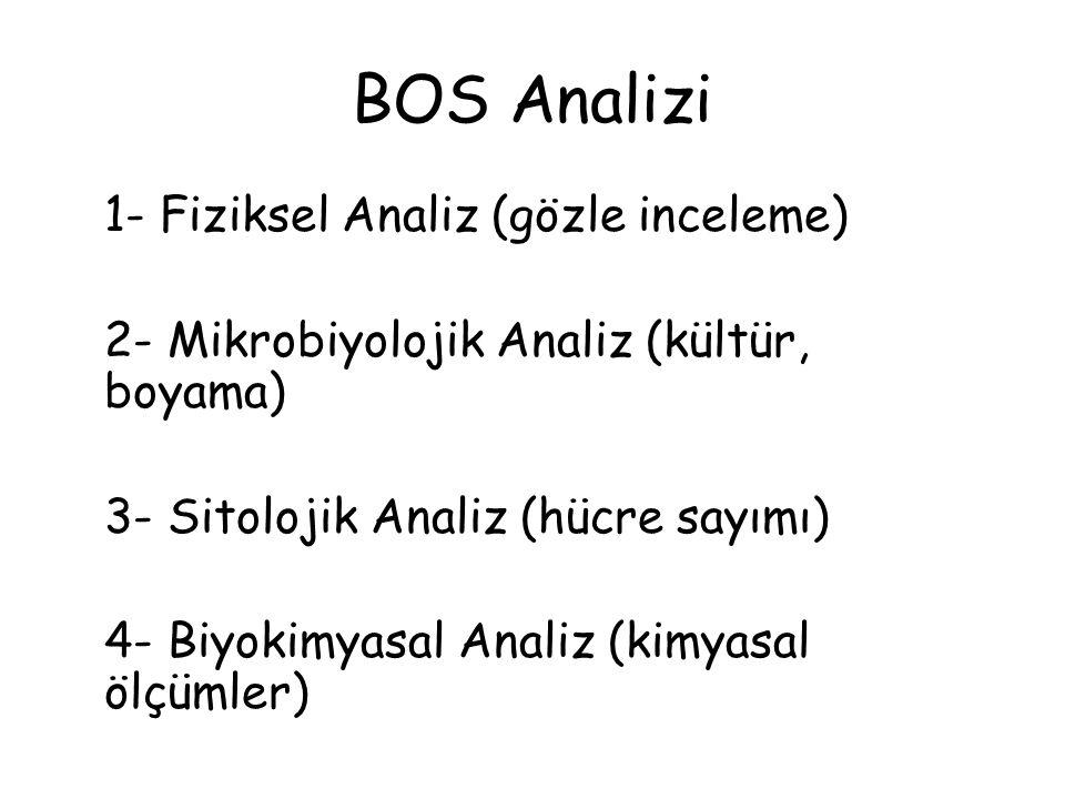 BOS Analizi 1- Fiziksel Analiz (gözle inceleme) 2- Mikrobiyolojik Analiz (kültür, boyama) 3- Sitolojik Analiz (hücre sayımı) 4- Biyokimyasal Analiz (kimyasal ölçümler)