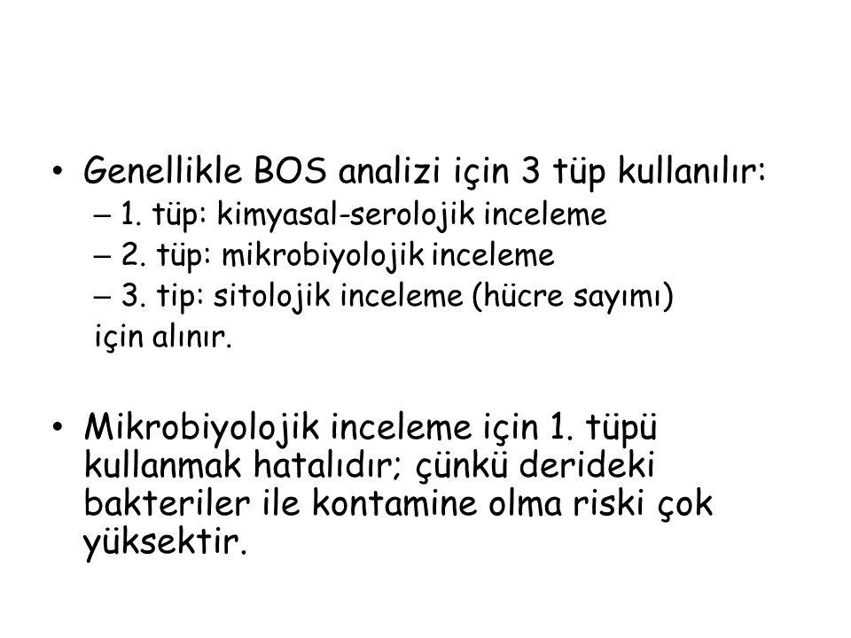 Genellikle BOS analizi için 3 tüp kullanılır: – 1.