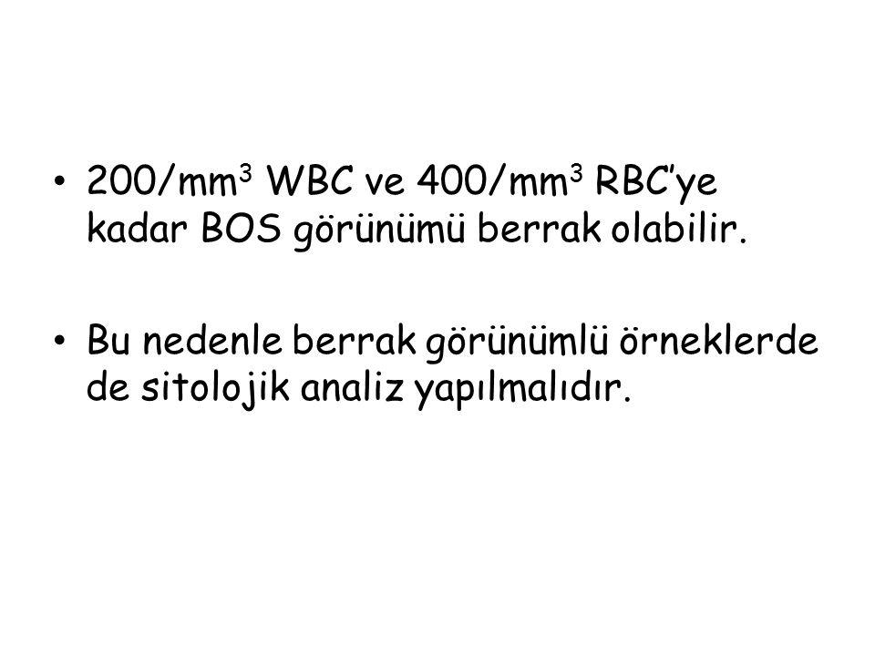200/mm 3 WBC ve 400/mm 3 RBC'ye kadar BOS görünümü berrak olabilir.