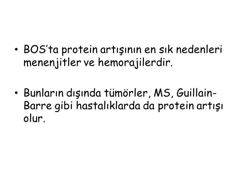 BOS'ta protein artışının en sık nedenleri menenjitler ve hemorajilerdir.