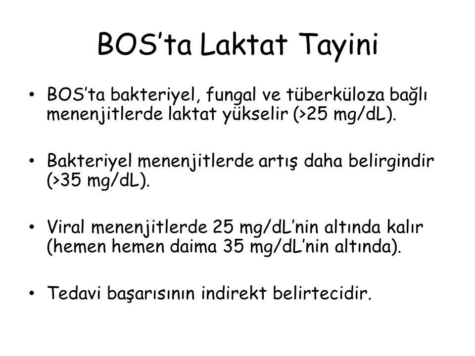 BOS'ta Laktat Tayini BOS'ta bakteriyel, fungal ve tüberküloza bağlı menenjitlerde laktat yükselir (>25 mg/dL).