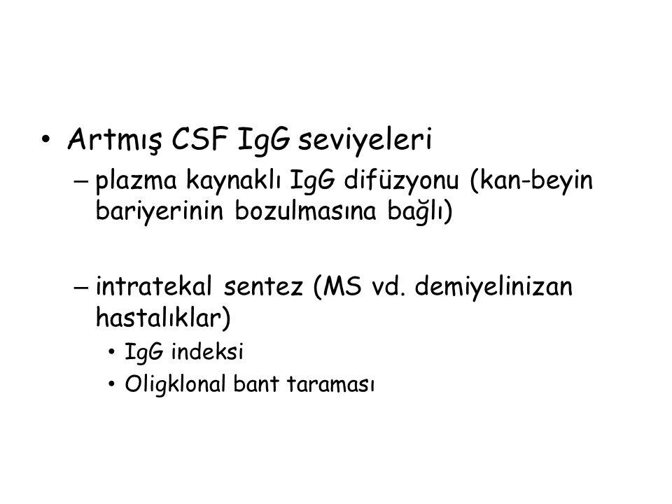 Artmış CSF IgG seviyeleri – plazma kaynaklı IgG difüzyonu (kan-beyin bariyerinin bozulmasına bağlı) – intratekal sentez (MS vd.
