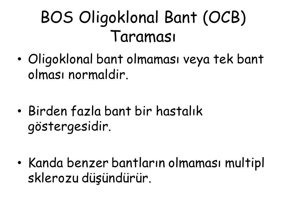 BOS Oligoklonal Bant (OCB) Taraması Oligoklonal bant olmaması veya tek bant olması normaldir.