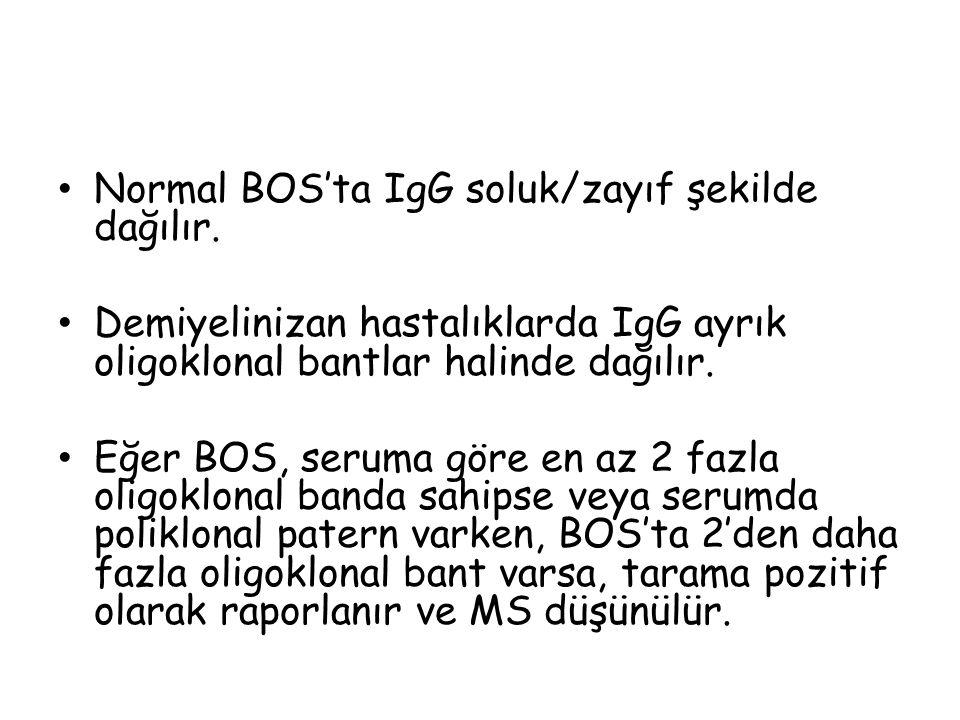 Normal BOS'ta IgG soluk/zayıf şekilde dağılır.