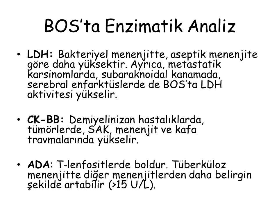 BOS'ta Enzimatik Analiz LDH: Bakteriyel menenjitte, aseptik menenjite göre daha yüksektir.