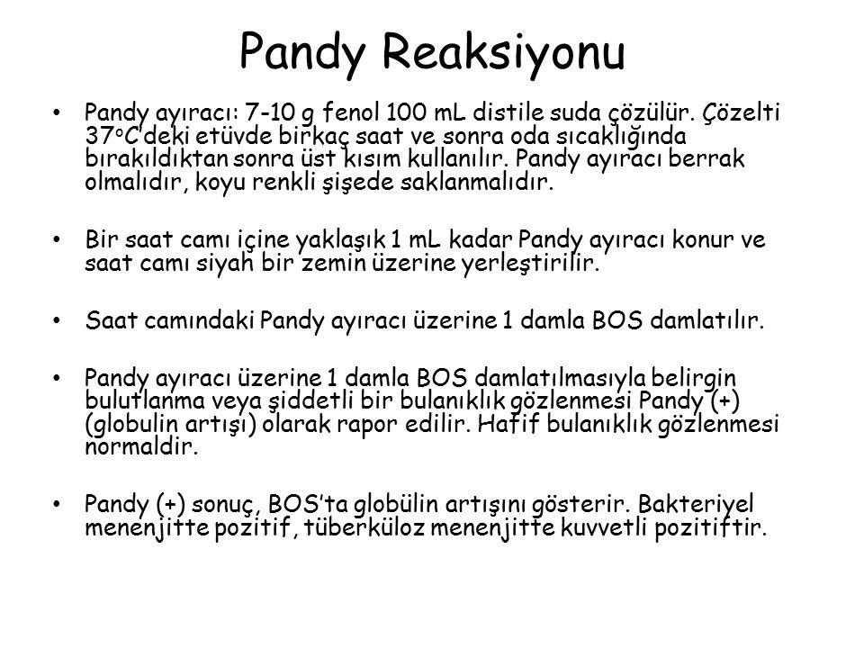 Pandy Reaksiyonu Pandy ayıracı: 7-10 g fenol 100 mL distile suda çözülür.