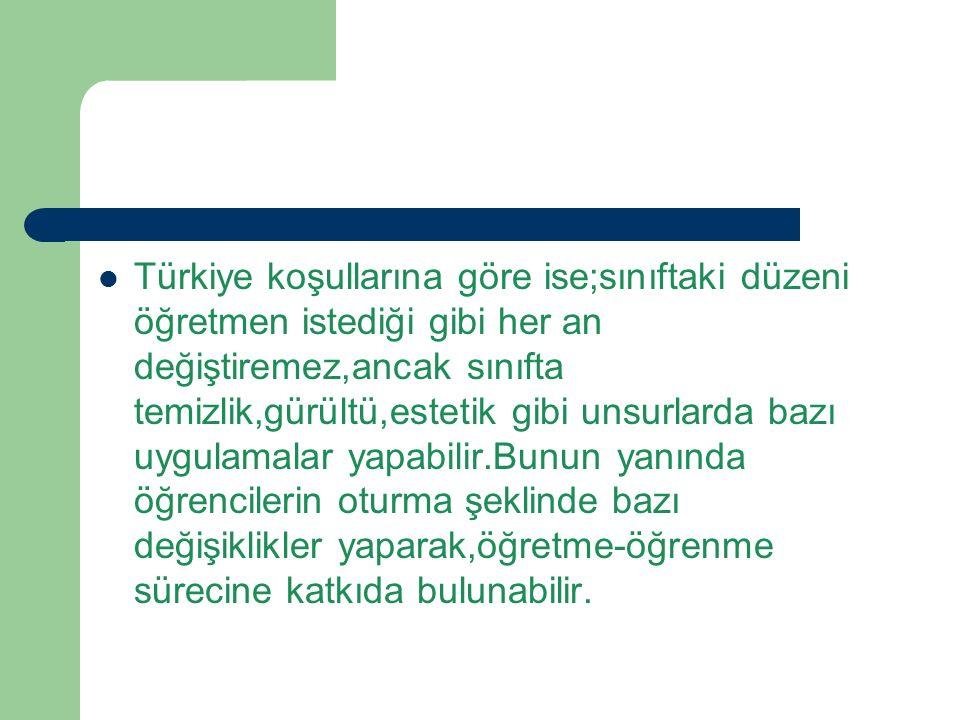 Türkiye koşullarına göre ise;sınıftaki düzeni öğretmen istediği gibi her an değiştiremez,ancak sınıfta temizlik,gürültü,estetik gibi unsurlarda bazı u
