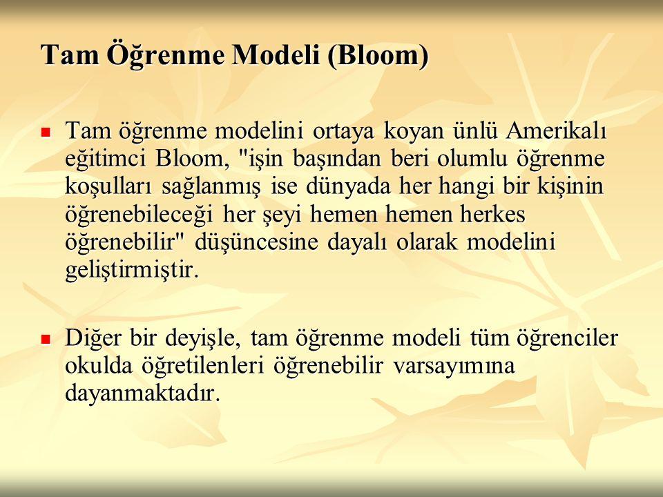 Tam Öğrenme Bloom tarafından geliştirilen ve okulda öğrenme adı da verilen tam öğrenme modeli, okullarda öğrenme sürecinde etkili olan bütün öğeleri, öğrencilerin en etkili öğrenme düzeyine ulaşması için sistemli olarak bir araya getiren yaklaşımdır.