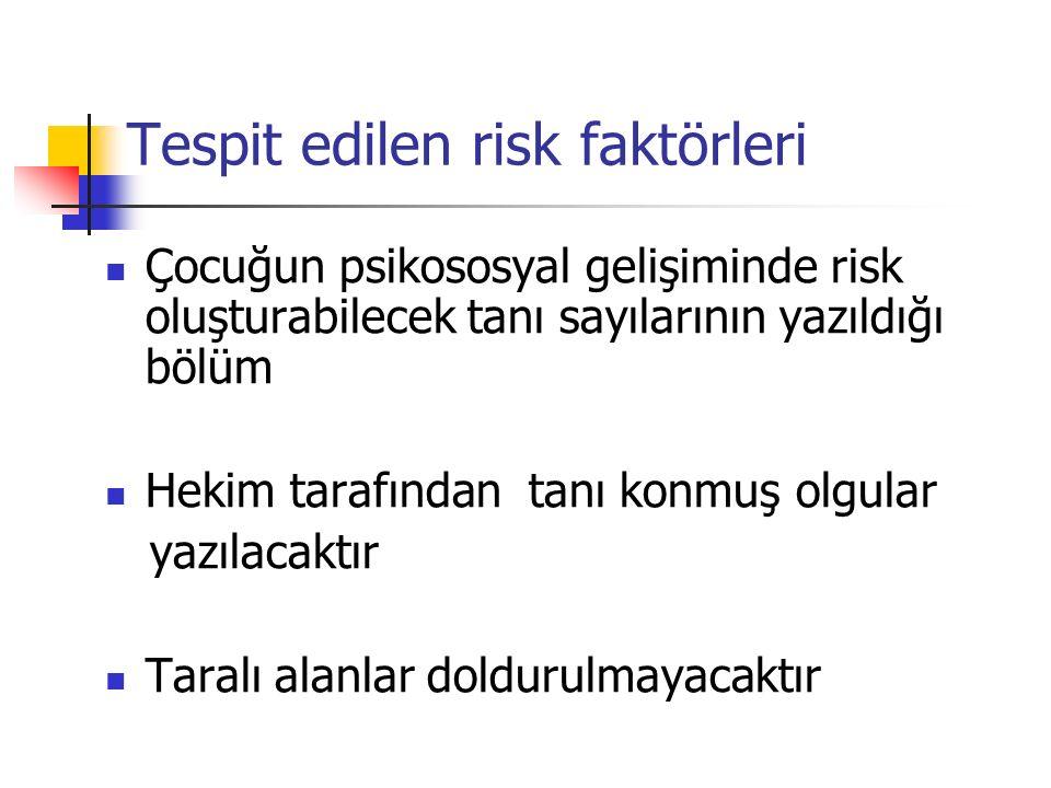 Tespit edilen risk faktörleri Çocuğun psikososyal gelişiminde risk oluşturabilecek tanı sayılarının yazıldığı bölüm Hekim tarafından tanı konmuş olgul