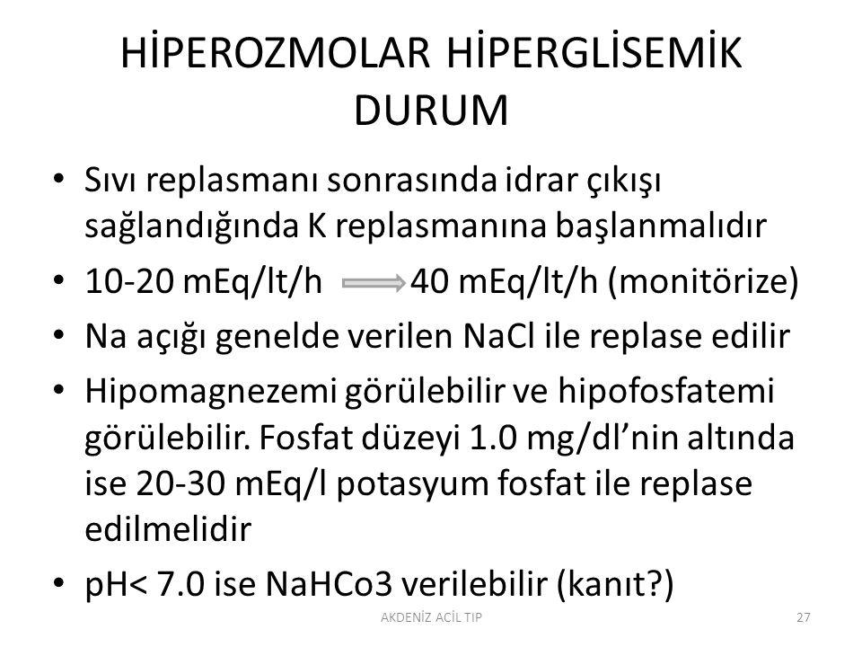 HİPEROZMOLAR HİPERGLİSEMİK DURUM Sıvı replasmanı sonrasında idrar çıkışı sağlandığında K replasmanına başlanmalıdır 10-20 mEq/lt/h 40 mEq/lt/h (monitörize) Na açığı genelde verilen NaCl ile replase edilir Hipomagnezemi görülebilir ve hipofosfatemi görülebilir.