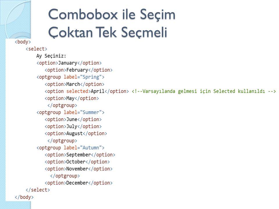 Combobox ile Seçim Çoktan Tek Seçmeli