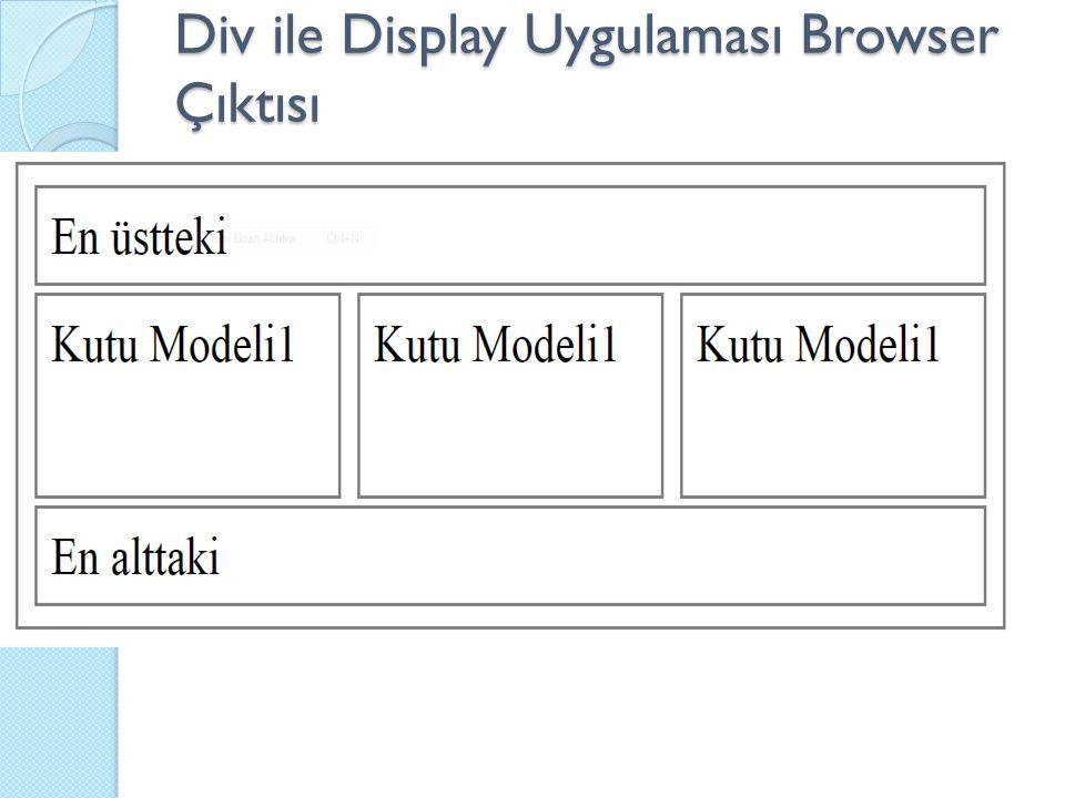 Div ile Display Uygulaması Browser Çıktısı