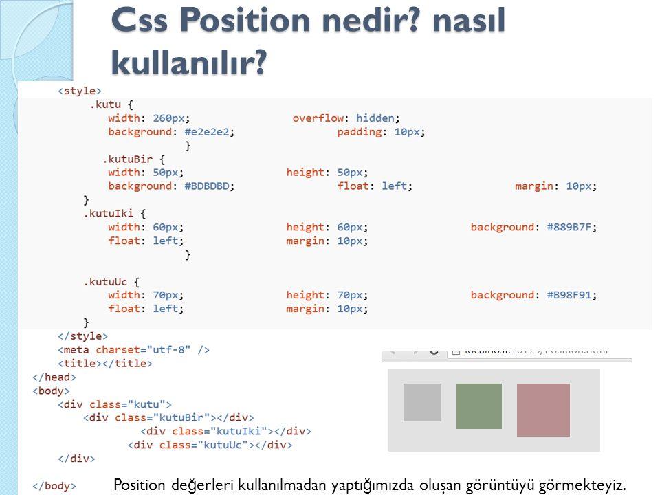 Css Position nedir. nasıl kullanılır.