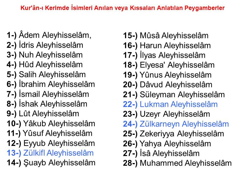 Kur'ân-ı Kerimde İsimleri Anılan veya Kıssaları Anlatılan Peygamberler 15-) Mûsâ Aleyhisselâm 16-) Harun Aleyhisselâm 17-) İlyas Aleyhisselâm 18-) Ely