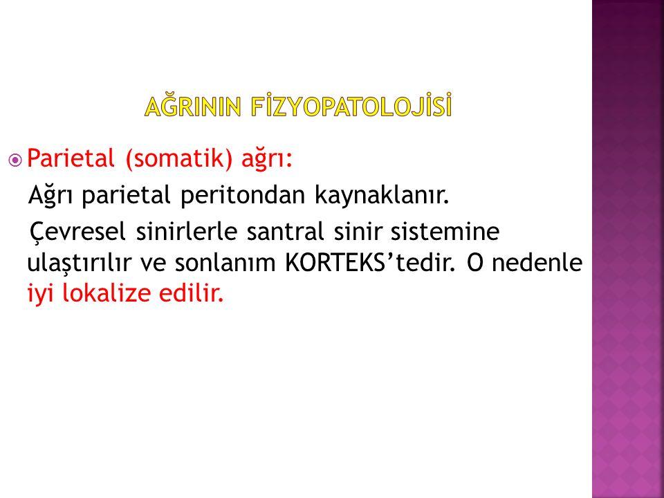  Parietal (somatik) ağrı: Ağrı parietal peritondan kaynaklanır.
