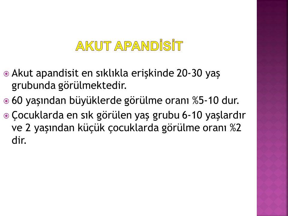  Akut apandisit en sıklıkla erişkinde 20-30 yaş grubunda görülmektedir.