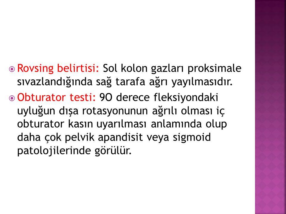  Rovsing belirtisi: Sol kolon gazları proksimale sıvazlandığında sağ tarafa ağrı yayılmasıdır.