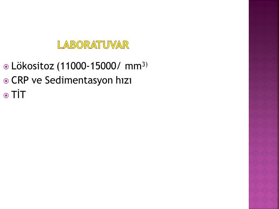  Lökositoz (11000-15000/ mm 3)  CRP ve Sedimentasyon hızı  TİT