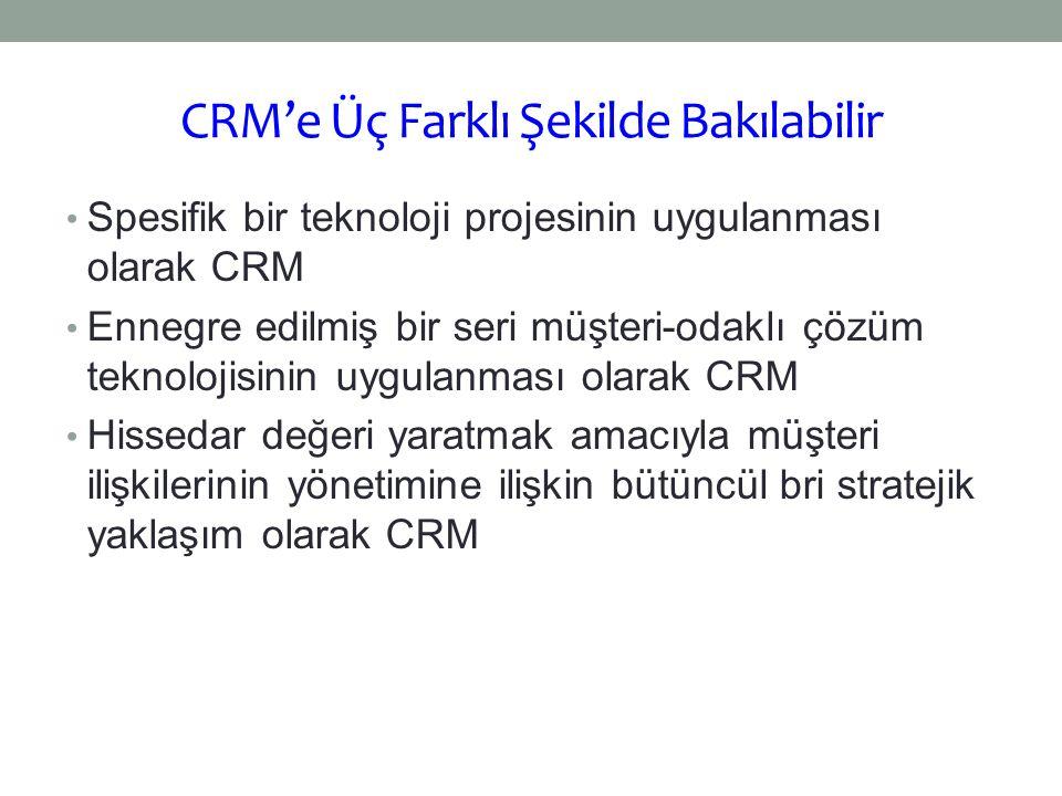 CRM'e Üç Farklı Şekilde Bakılabilir Spesifik bir teknoloji projesinin uygulanması olarak CRM Ennegre edilmiş bir seri müşteri-odaklı çözüm teknolojisi