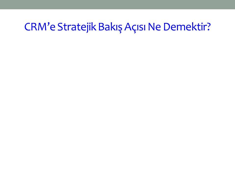 CRM'e Stratejik Bakış Açısı Ne Demektir?