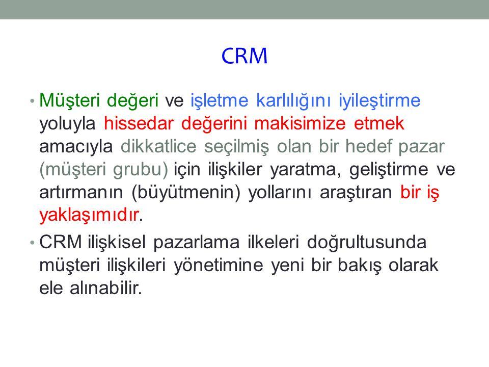CRM Müşteri değeri ve işletme karlılığını iyileştirme yoluyla hissedar değerini makisimize etmek amacıyla dikkatlice seçilmiş olan bir hedef pazar (mü