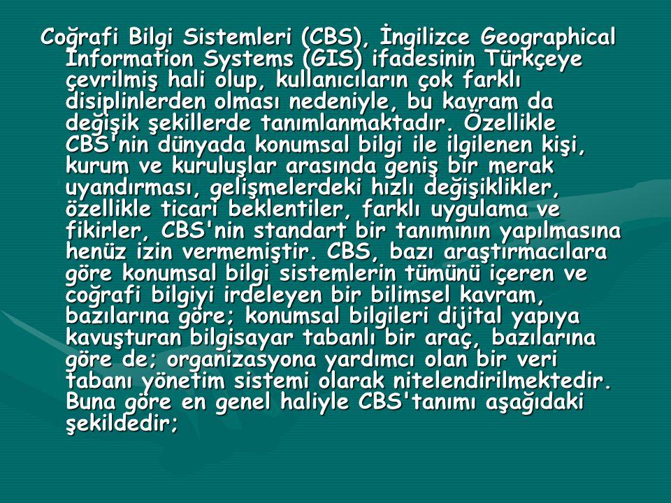 Coğrafi Bilgi Sistemleri (CBS), İngilizce Geographical Information Systems (GIS) ifadesinin Türkçeye çevrilmiş hali olup, kullanıcıların çok farklı di