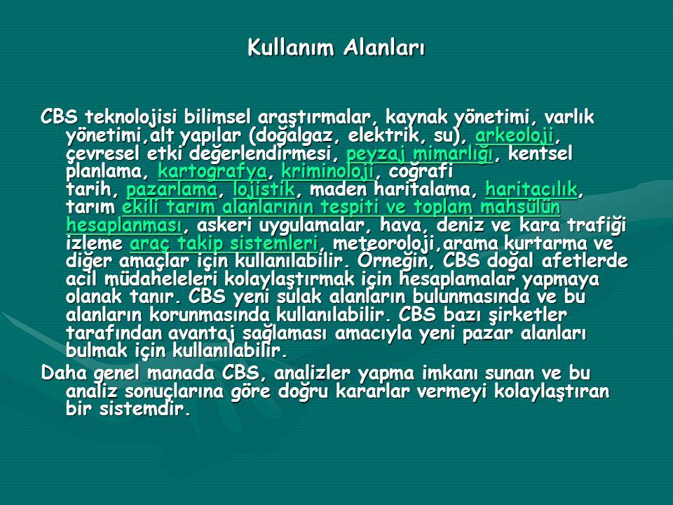 Kullanım Alanları CBS teknolojisi bilimsel araştırmalar, kaynak yönetimi, varlık yönetimi,alt yapılar (doğalgaz, elektrik, su), arkeoloji, çevresel et