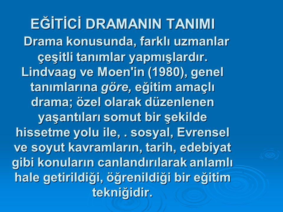 EĞİTİCİ DRAMANIN TANIMI Drama konusunda, farklı uzmanlar çeşitli tanımlar yapmışlardır. Lindvaag ve Moen'in (1980), genel tanımlarına göre, eğitim ama