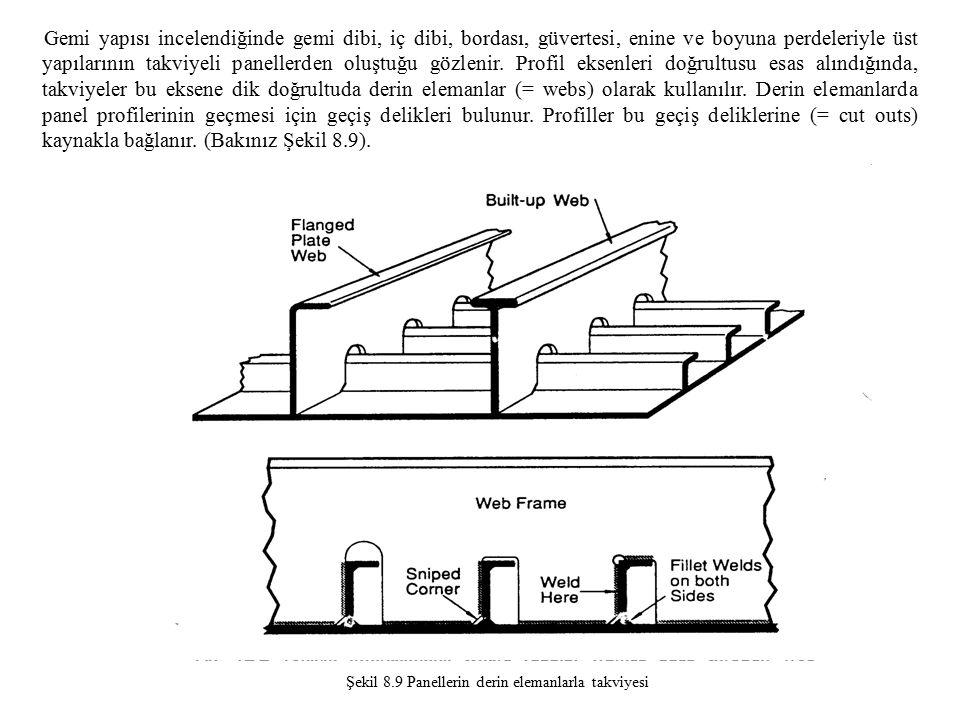 Gemi yapısı incelendiğinde gemi dibi, iç dibi, bordası, güvertesi, enine ve boyuna perdeleriyle üst yapılarının takviyeli panellerden oluştuğu gözlenir.