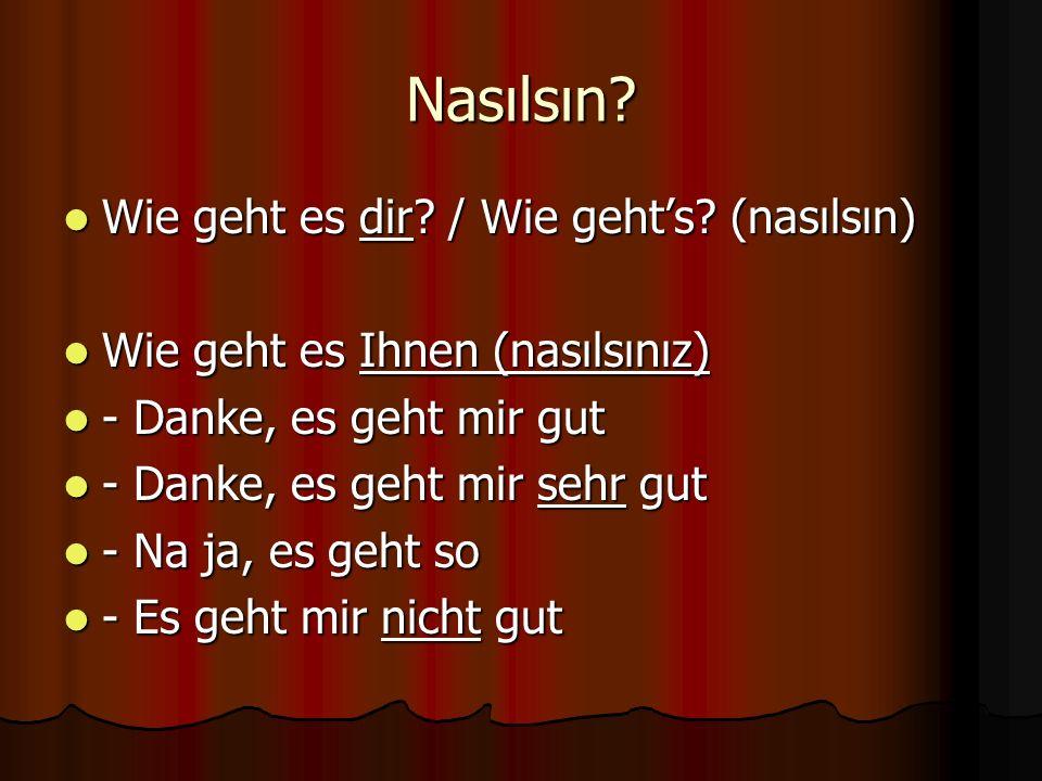 Nasılsın? Wie geht es dir? / Wie geht's? (nasılsın) Wie geht es dir? / Wie geht's? (nasılsın) Wie geht es Ihnen (nasılsınız) Wie geht es Ihnen (nasıls