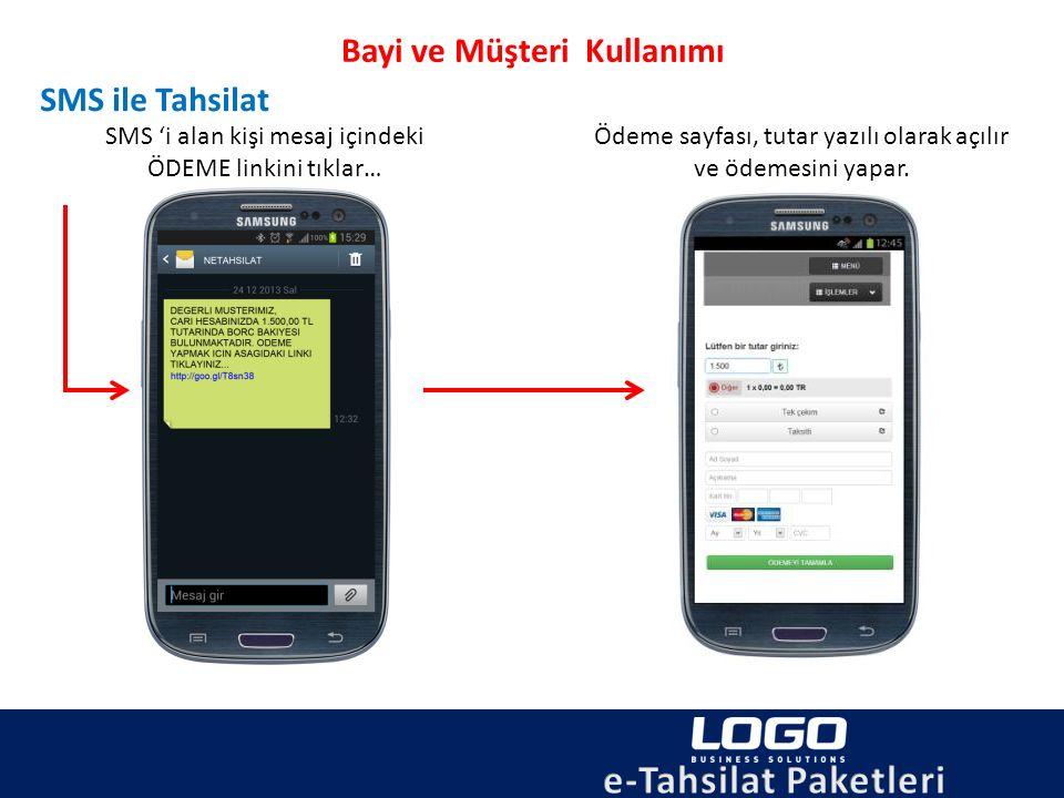 Bayi ve Müşteri Kullanımı SMS ile Tahsilat SMS 'i alan kişi mesaj içindeki ÖDEME linkini tıklar… Ödeme sayfası, tutar yazılı olarak açılır ve ödemesin