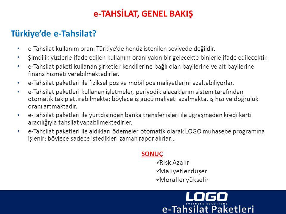 e-Tahsilat kullanım oranı Türkiye'de henüz istenilen seviyede değildir. Şimdilik yüzlerle ifade edilen kullanım oranı yakın bir gelecekte binlerle ifa