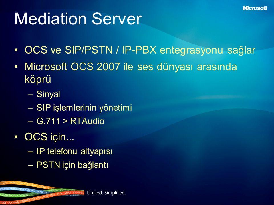 OCS ve SIP/PSTN / IP-PBX entegrasyonu sağlar Microsoft OCS 2007 ile ses dünyası arasında köprü –Sinyal –SIP işlemlerinin yönetimi –G.711 > RTAudio OCS için...