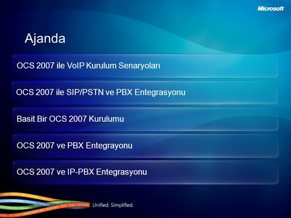 OCS 2007 ile VoIP Kurulum Senaryoları OCS 2007 ile SIP/PSTN ve PBX Entegrasyonu Basit Bir OCS 2007 Kurulumu OCS 2007 ve PBX Entegrayonu OCS 2007 ve IP-PBX Entegrasyonu Ajanda