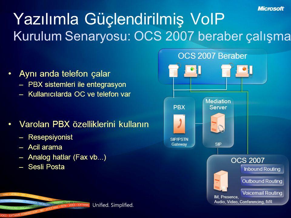 Yazılımla Güçlendirilmiş VoIP Kurulum Senaryosu: OCS 2007 beraber çalışma Aynı anda telefon çalar –PBX sistemleri ile entegrasyon –Kullanıcılarda OC ve telefon var Varolan PBX özelliklerini kullanın –Resepsiyonist –Acil arama –Analog hatlar (Fax vb...) –Sesli Posta OCS 2007 Beraber Mediation Server Mediation Server SIP PBX OCS 2007 IM, Presence, Audio, Video, Conferencing, IVR Inbound Routing Outbound Routing Voicemail Routing SIP/PSTN Gateway