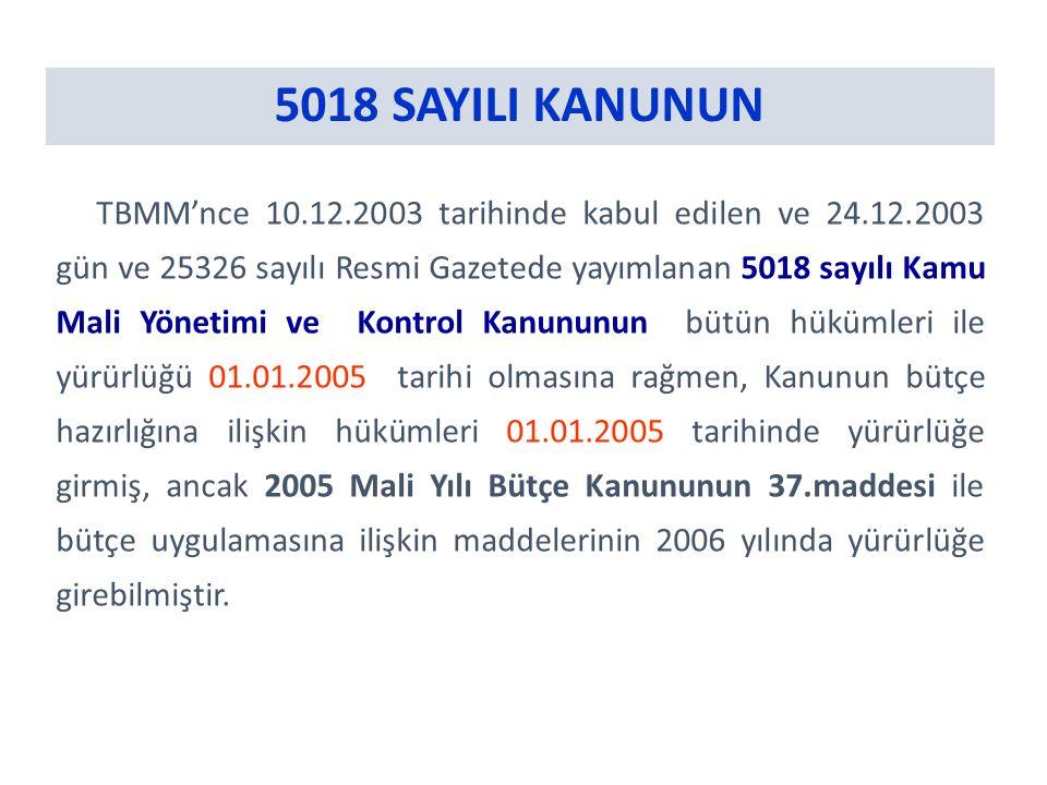 5018 SAYILI KANUNUN TBMM'nce 10.12.2003 tarihinde kabul edilen ve 24.12.2003 gün ve 25326 sayılı Resmi Gazetede yayımlanan 5018 sayılı Kamu Mali Yönetimi ve Kontrol Kanununun bütün hükümleri ile yürürlüğü 01.01.2005 tarihi olmasına rağmen, Kanunun bütçe hazırlığına ilişkin hükümleri 01.01.2005 tarihinde yürürlüğe girmiş, ancak 2005 Mali Yılı Bütçe Kanununun 37.maddesi ile bütçe uygulamasına ilişkin maddelerinin 2006 yılında yürürlüğe girebilmiştir.