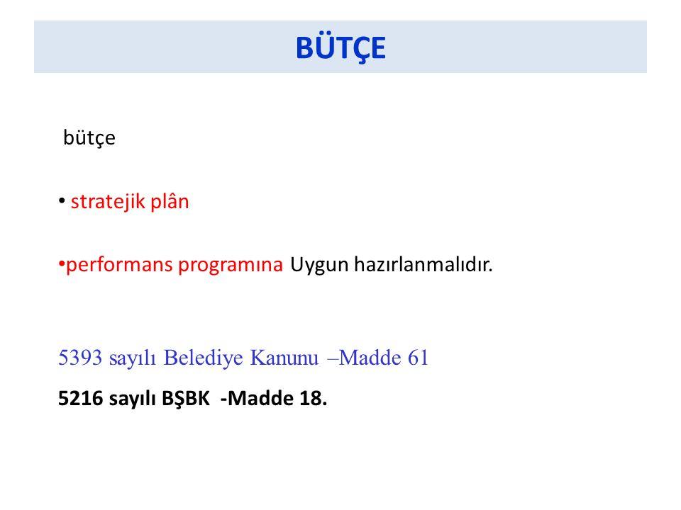 BÜTÇE bütçe stratejik plân performans programına Uygun hazırlanmalıdır.