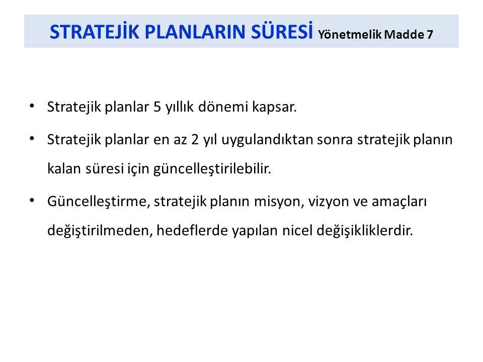 STRATEJİK PLANLARIN SÜRESİ Yönetmelik Madde 7 Stratejik planlar 5 yıllık dönemi kapsar.