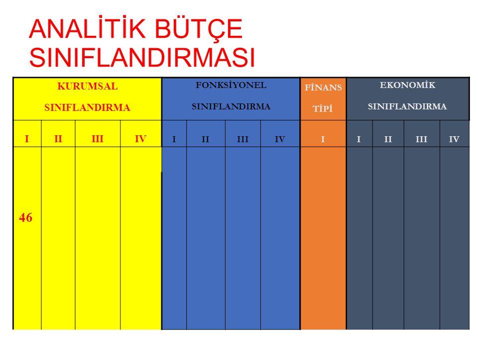 ANALİTİK BÜTÇE SINIFLANDIRMASI KURUMSAL FONKSİYONEL FİNANS EKONOMİK SINIFLANDIRMA TİPİ SINIFLANDIRMA IIIIIIIV IIIIIIIVIIIIIIIIV 46