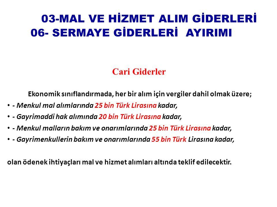 03-MAL VE HİZMET ALIM GİDERLERİ 06- SERMAYE GİDERLERİ AYIRIMI Cari Giderler Kanunu Ekonomik sınıflandırmada, her bir alım için vergiler dahil olmak üzere; - Menkul mal alımlarında 25 bin Türk Lirasına kadar, - Gayrimaddi hak alımında 20 bin Türk Lirasına kadar, - Menkul malların bakım ve onarımlarında 25 bin Türk Lirasına kadar, - Gayrimenkullerin bakım ve onarımlarında 55 bin Türk Lirasına kadar, olan ödenek ihtiyaçları mal ve hizmet alımları altında teklif edilecektir.